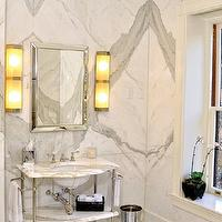 bathrooms - marble, slab, backsplash, marble, washstand, marble, tiles, floor, black, marble, inset, border, tiles, beveled, mirror, calcutta, calcutta marble, calcutta marble backsplash, calcutta marble tile bathroom,