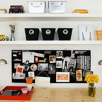 AB Chao - boy's rooms - black, canvas, storage, bins, vintage, metal, bins, red, lacquer, tray, ikea lack shelves, lack shelf, ikea lack shelf, Ikea VIKA AMON/ VIKA ADILS Table - Birch/White, Ikea Lack Shelf, Ikea Forsa Work Lamp - Nickel Plated,