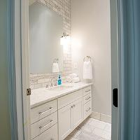 cloud8 - bathrooms - pale, blue, gray, walls, extra-wide, single, bathroom vanity, marble, countertop, marble, subway tiles, backsplash, mosaic, inset tiles, frameless mirror, marble, tiles, floor, marble, mosaic, inset tiles,