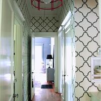AB Chao - entrances/foyers - red, chinoiserie, chandelier, white, black, quatrefoil, wallpaper, trellis wallpaper, moroccan wallpaper, gray moroccan wallpaper, quatrefoil wallpaper, moorish tiles wallpaper,
