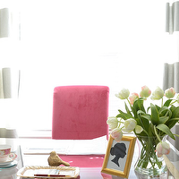Amanda Carol Interiors - dens/libraries/offices - gray, walls, white, gray, horizontal, stripes, drapes, hot pink, chair, silhouette, prints, crystal, urn, lamps, striped curtains, striped drapes, gray striped curtains, gray striped drapes, white and gray striped curtains, white and gray striped drapes, horizontal curtains, horizontal striped curtains, horizontal drapes, horizontal striped drapes, , Ikea Malm 6 Drawer Dresser, My Overlays Greek Key,