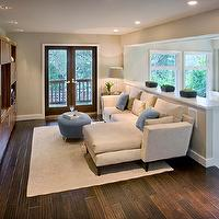 Shirley Parks Design - dens/libraries/offices - Media Room, Family Room, Built-ins, Wood, Sectional Sofa, Rug, Cream, Blue, TV, family room, family room built ins, family room built in cabinets, built ins for family room, built in cabinets for family room,