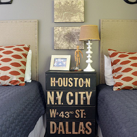 Amazing boys&#039; bedroom with gray walls paint color, linen nailhead trim twin headboards ...
