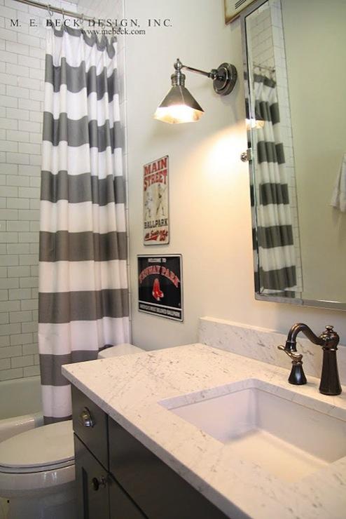 Striped Shower Curtain Contemporary Bathroom M E