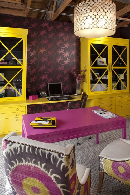 Yellow cabinets contemporary den library office for Office design yellow