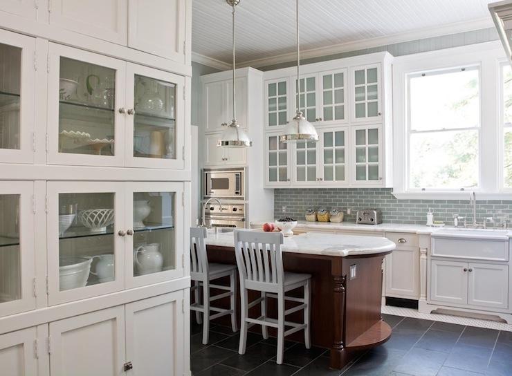 Blue Glass Kitchen Backsplash Transitional Kitchen