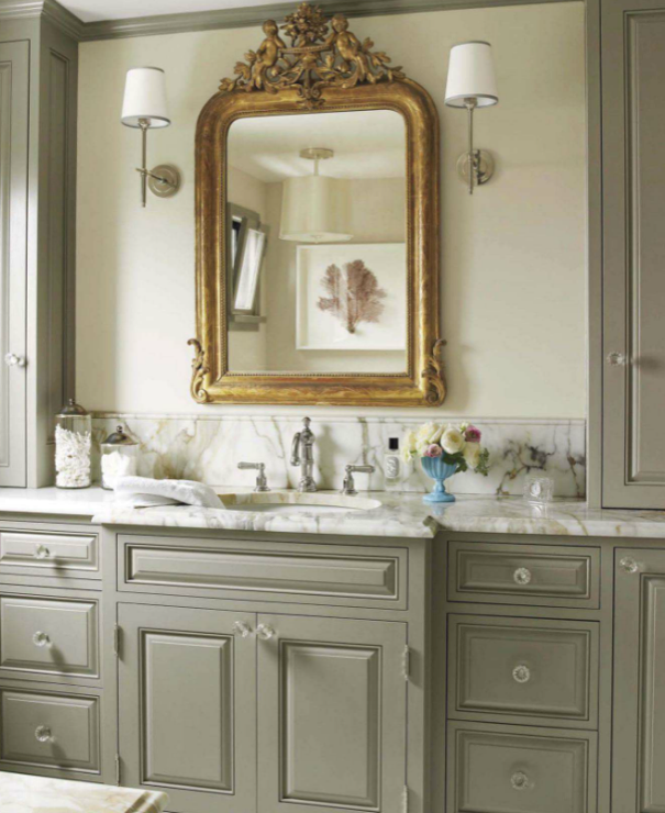 Gray Bathroom, French, bathroom, Benjamin Moore Edgecomb Gray, House