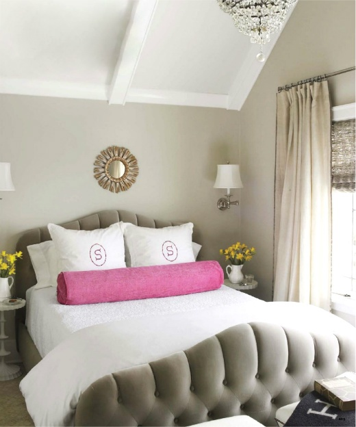 House Beautiful - bedrooms - Benjamin Moore - Edgecomb Gray - Cisco Brothers Morgan Bed, F Schumacher Gainsborough Velvet in Platinum, Julia B. Shams, Manuel Canovas Brasilia in Petunia, Oly Studio Priscilla Side Table, Sandy Chapman Classic Swing Arm Wall Lamp, gray, walls, small, sunburst, mirror, pink, bolster, pillow, pink, monogram, shams, linen, sheers, layered, bamboo, roman shades, gray walls, gray paint, gray paint colors, edgecomb gray,