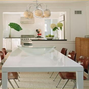 Blair Gordon Design - dining rooms - glossy, white, parsons, dining table, wood, industrial, dining chairs, jute, rug, mid-century modern, buffet, chair rail, white dining table, parsons dining table, white lacquer dining table, white parsons  dining table,