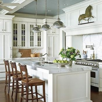 Traditional Home - kitchens - blue, gray, painted, beadboard, ceiling, saucer, pendants, pot filler, white, kitchen cabinets, kitchen island, marble, countertops, marble, slab, backsplash, beadboard ceiling, white beadboard ceiling, kitchen beadboard, kitchen beadboard ceiling, beadboard kitchen ceiling, beadboard ceiling kitchen, white beadboard kitchen, blue beadboard ceiling,