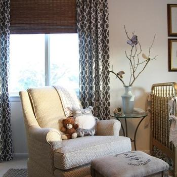M. E. Beck Design - nurseries - drapes, layered, bamboo, roman shades, ivory, walls, jute, rug, gold, Jenny Lind Crib, blue, painted, ceiling, trellis curtains, trellis drapes, gray trellis curtains, gray trellis drapes, grey curtains, grey drapes, F Schumacher Summer palace Fretwork Smoke, C. R. Laine Holden Chair, Waverly Cross Section - Charcoal, Target Vintage Charm Wooden Stool,