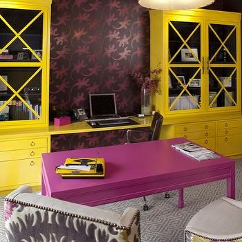Artistic Designs for Living - dens/libraries/offices - curvy, chairs, pink, purple, lime green, suzani, fabric, fuchsia, desk, purple, wallpaper, accent wall, glossy, yellow, glass-front, cabinets, silver, ring, pulls, yellow, floating desk, white, gray, Greek key, rug, yellow cabinets, yellow armoire, Oly Studio Serena Drum Pendant, Donghia Suzani Fabric - Pink Passion,