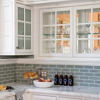 Blue Glass Tile, Transitional, kitchen, Artistic Designs for Living