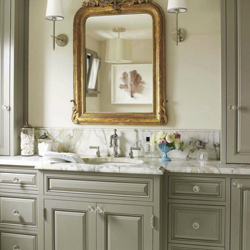 House Beautiful - bathrooms - gray, green, bathroom, cabinets, marble, countertop, gilt, mirror, gray bathroom, gray bathroom cabinets, gray bathroom vanity, edgecomb gray, Benjamin Moore Rockport Gray, Barbara Barry Small Simple Scallop Pendant, Thomas O'Brien Bryant Sconce,
