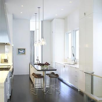 Butler Armsden Architects - kitchens - high ceiling, glossy, white, lacquer, kitchen cabinets, marble, countertops, white, kitchen island, black, granite, countertop, glass, pendants, modern bar stools,