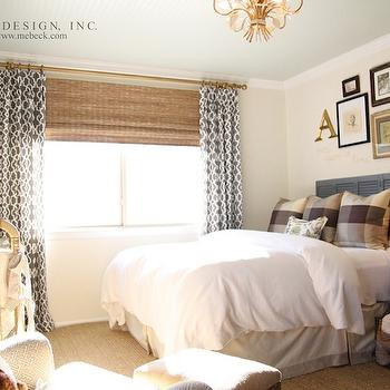 M. E. Beck Design - nurseries: blue, wood, headboard, jute, rug, drapes, layered, bamboo, roman shades, gold, Jenny Lind Crib, ivory, walls, tole, chandelier, pillows, gray trellis curtains, gray trellis drapes, grey curtains, grey drapes,