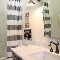 M. E. Beck Design - bathrooms - white, gray, striped, shower curtain, subway tiles, shower surround, charcoal, gray, painted, single, bathroom vanity, marble, countertop, vintage, sconces, flanking, rectangular, pivot, mirror, oil-rubbed bronze, faucet kit,