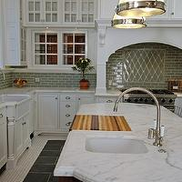 Artistic Designs for Living - kitchens - vintage, penny, tiles, floor, slate, inset, tiles, coffee stained, kitchen island, creamy, white, glass-front, kitchen cabinets, marble, countertops, farmhouse sink, turned legs, blue, green, glass, subway tiles, backsplash, sink in kitchen island, beadboard ceiling, Restoration Hardware Clemson Pendant,
