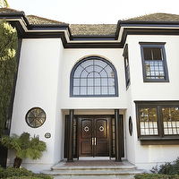 Form Interior Design - home exteriors - stucco, home, glossy, black, door,  Gorgeous stucco home with glossy black doors.