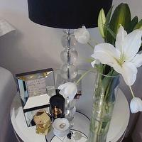 For the Love of Black - bedrooms - tulips, mirrored, tiles, round, table, nightstand, stacked, glass, lamp, black, shade, mirror nightstands, mirrored nightstands, mirrored bedside tables,