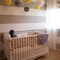 A Well Dressed Home - nurseries - crib bumper, white, gray, striped, walls, mustard, yellow, ribbons, gray, yellow, paper, pom poms, striped nursery, striped nursery walls, gray striped walls, gray striped nursery, gray striped nursery walls, white and gray striped walls, white and gray striped nursery, white and gray striped nursery walls, gray white striped nursery, gray and white striped walls, gray and white striped nursery, DaVinci Jenny Lind Stationary Crib - White, Waverly Cross Section - Charcoal,