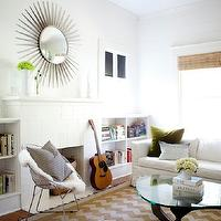 AB Chao - living rooms - white, walls, white, built-ins, bookcases, flanking, white, brick, fireplace, ivory, gold, chevron, rug, white, modern, slipcover, sofa, fern, green, velvet, pillow, gold chevron rug, white and gold chevron rug, Noguchi Cocktail Table,
