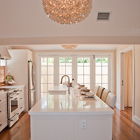Blair Gordon Design - kitchens - French, doors, white, kitchen island, white, quartz, countertops, sink in kitchen island, Viva Terra Lotus Flower Chandelier,