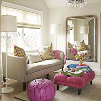 House Beautiful - bedrooms - silver, mirror, gray, walls, pink, tufted, bench, ottoman, French, brass, tacks, edgecomb gray, Natural linen John Derian Cove Sofa, Maison Luxe Moroccan Leather Pouf, Barbara Barry Lotus Floor Lamp, Pottery Barn Chunky Wool and Natural Jute Rug,