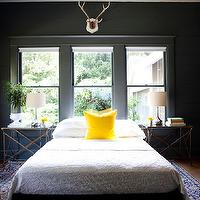 AB Chao - bedrooms - modern, platform, bed, yellow, pillow, black, walls, gold, sunburst, mirror, brass, directoire, accordion, tables, black, marble, top, silver, gourd, lamps, bed in front of window,