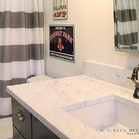 M. E. Beck Design - bathrooms - charcoal, gray, painted, single, bathroom vanity, marble, countertop, oil-rubbed bronze, faucet kir, white, gray, striped, shower curtains, subway tiles, shower surround, rectangular, pivot, mirror,