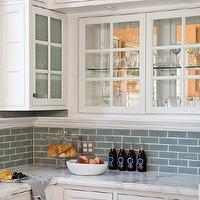 Artistic Designs for Living - kitchens - blue, glass, subway tiles, backsplash, white, glass-front, kitchen cabinets, marble, countertops,  Love