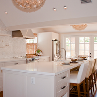 Blair Gordon Design - kitchens - French doors, white, glass, mosaic, tiles, backsplash, white, kitchen cabinets, white, kitchen island, white, quartz, countertops, sink in kitchen island, white, floating shelves, bamboo, roman sahdes, Viva Terra Lotus Flower Chandelier,