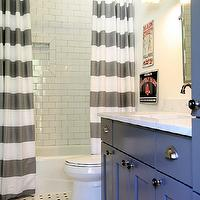 M. E. Beck Design - bathrooms - charcoal, gray, painted, extra-wide, single, bathroom vanity, cabinet, marble, countertop, oil-rubbed bronze, faucet kit, vintage, tiles, floor, twin, white, gray, striped, shower curtains, subway tiles, shower surround, vintage, sconces, flanking, rectangular, pivot, mirror, horizontal striped shower curtains, white and gray shower curtains,