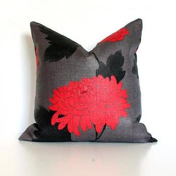 Pillows - Red-Orange Chyrsanthemum - red, orange, chrysanthemum, pillow