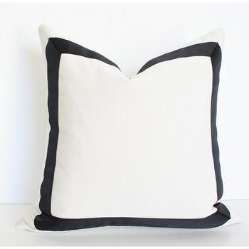 Pillows - Cream with Black Grosgrain - cream, black, grosgrain, pillow
