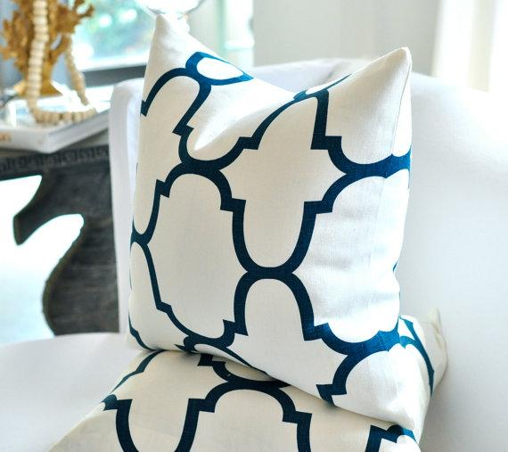 20sq WIndsor Smith Riad pillow cover in Indigo by woodyliana