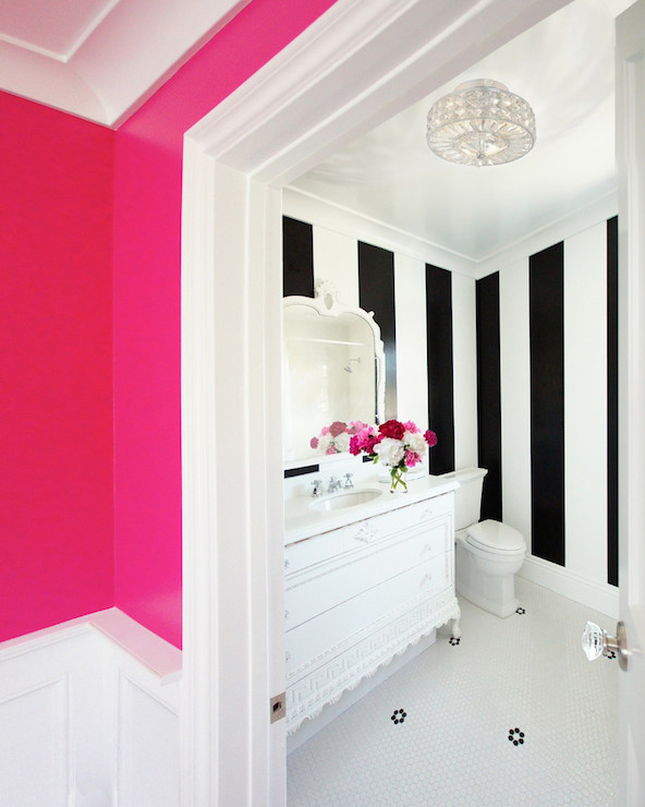 Courtney Blanton Interiors - bathrooms - Benjamin Moore - Hot Lips - hot pink, walls, penny, tiles, floor, white, black, vertical, striped, walls, white, vintage, bathroom vanity, marble, countertop, white, mirror, hot pink paint colors, hot pink wall paint, hot pink walls, neon pink walls, neon pink paint, neon pink paint colors,