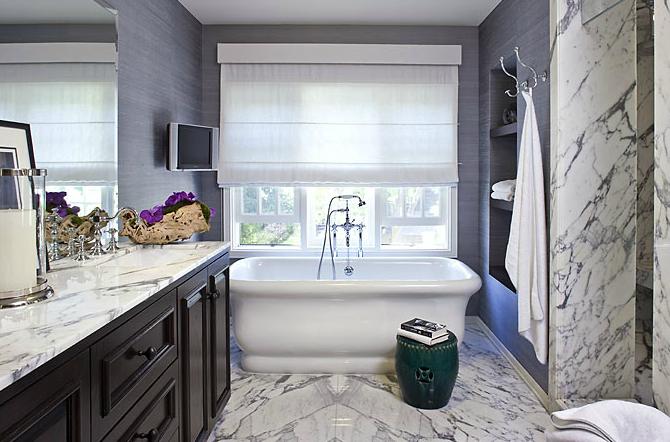 Purple grasscloth contemporary bathroom estee stanley - Grey white and purple bathroom ...