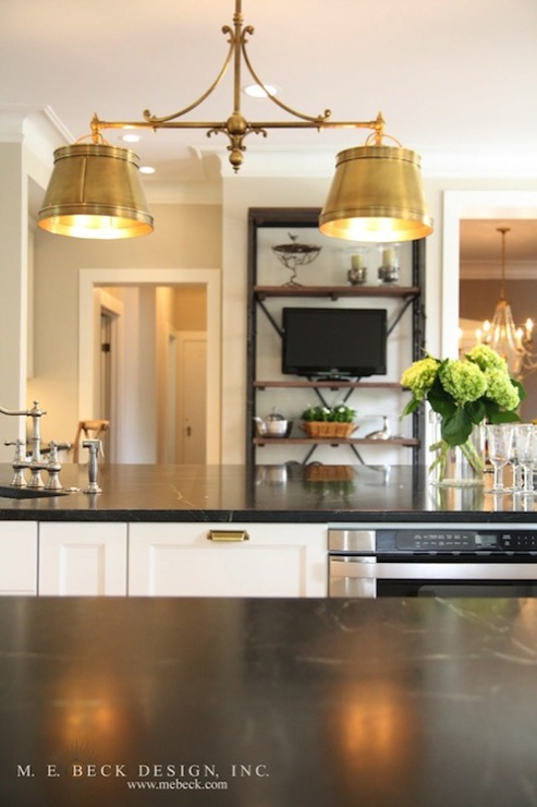 M. E. Beck Design - kitchens - Sandy Chapman Double Sloane Street Shop Light with Metal Shades - Antique Brass, brass, pin bills, white, kitchen cabinets, kitchen island, soapstone, countertops, sink in kitchen island, soapstone counters, soapstone countertops,