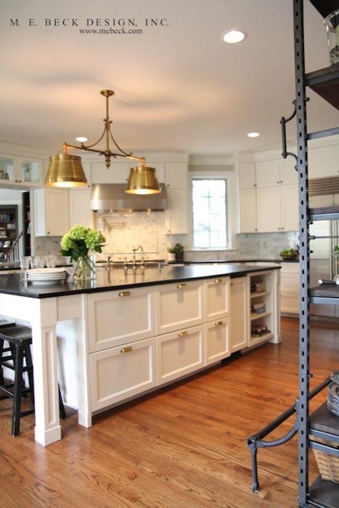 Metal Shades Antique Brass White Kitchen Cabinets Kitchen Island