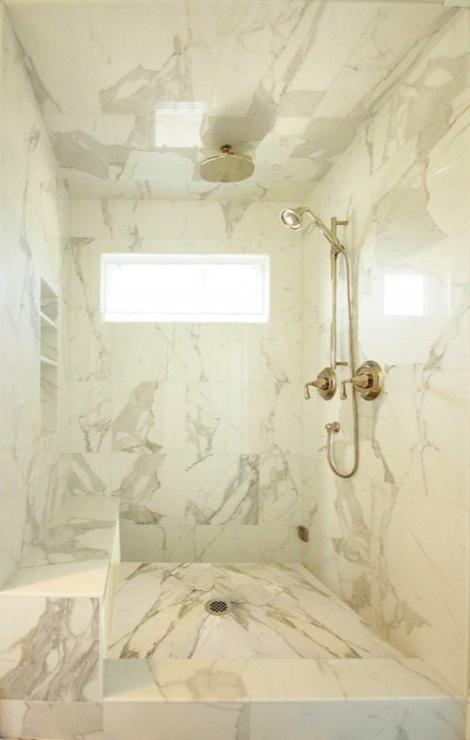 Calcutta Marble Shower Surround Contemporary Bathroom