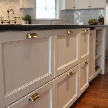 M. E. Beck Design - kitchens - white, kitchen island, brass, pin, pulls, soapstone, countertops, brass pulls, brass kitchen pulls, brass cabinet pulls,