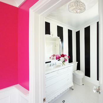 Courtney Blanton Interiors - bathrooms - hot pink, walls, penny, tiles, floor, white, black, vertical, striped, walls, white, vintage, bathroom vanity, marble, countertop, white, mirror, hot pink paint colors, hot pink wall paint, hot pink walls, neon pink walls, neon pink paint, neon pink paint colors,
