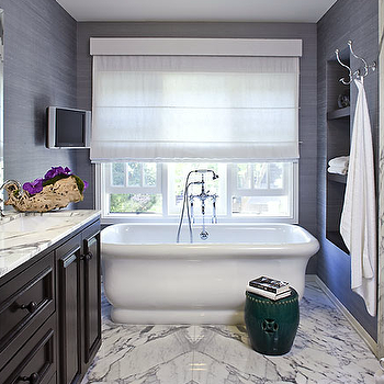 Estee Stanley - bathrooms - purple, grasscloth, wallpaper, freestanding, tub, green, garden, stool, marble, tiles, floor, marble, shower surround, glossy, black, double bathroom vanity, cabinet, marble, countertops, purple, accents, purple grasscloth, purple grasscloth wallpaper,