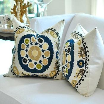20sq Bukhara Suzani Embroidery pillow cover in Teal by woodyliana