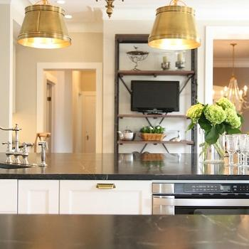 M. E. Beck Design - kitchens - brass, pin bills, white, kitchen cabinets, kitchen island, soapstone, countertops, sink in kitchen island, soapstone counters, soapstone countertops, Sandy Chapman Double Sloane Street Shop Light with Metal Shades - Antique Brass,