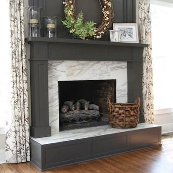 M. E. Beck Design - living rooms - charcoal, gray, painted, fireplace, calcutta gols, marble tiles, gray fireplace, gray fireplace mantle, gray fireplace mantel,