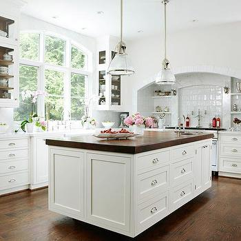 BHG - kitchens - white, kitchen cabinets, marble, countertops, farmhouse, sink, white, kitchen island, butcher block, countertop, small, round, sink, kitchen island, butcher block island countertop, butcher block countertop, Restoration Hardware Keynes Prism Single Pendant,
