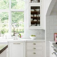 BHG - kitchens - wood panel, dishwasher, farmhouse, sink, white, kitchen cabinets, marble, countertops, marble, slab, backsplash, orchids,  Sweet