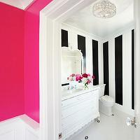 Courtney Blanton Interiors - bathrooms: hot pink, walls, penny, tiles, floor, white, black, vertical, striped, walls, white, vintage, bathroom vanity, marble, countertop, white, mirror, hot pink paint colors, hot pink wall paint, hot pink walls, neon pink walls, neon pink paint, neon pink paint colors,
